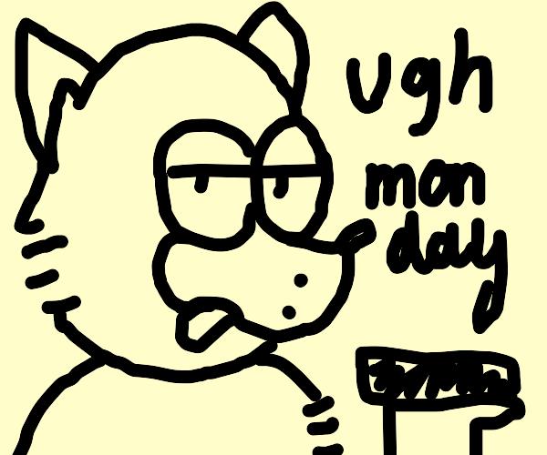 Garfungle fox hates Mondays
