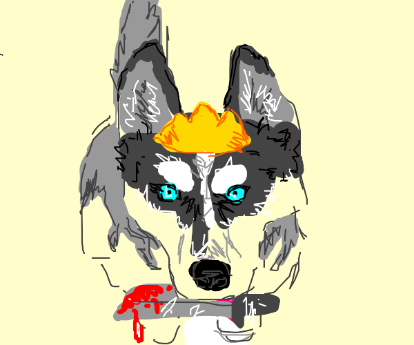 A husky with crown holding a bloody knife w
