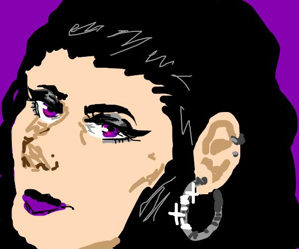 hoop earing on aesthetic emo girl