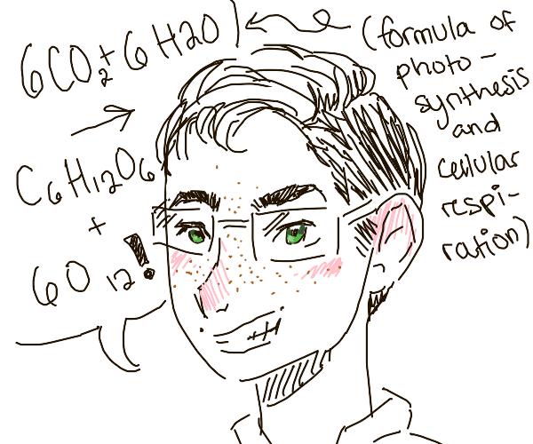 Teenage nerd with green eyes