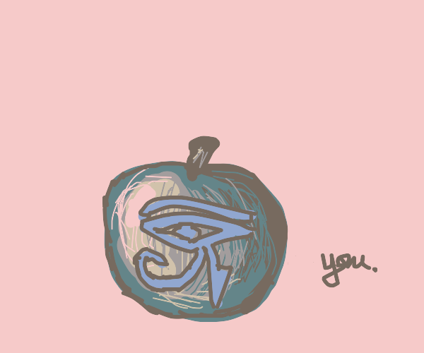 you are a blue egyptian symbol on an apple