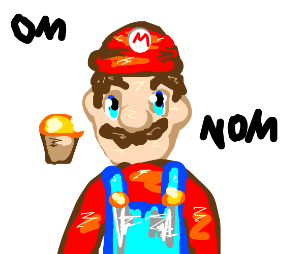 Mario eats a muffin