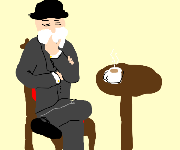 Dapper man thinks whilst drinking coffee