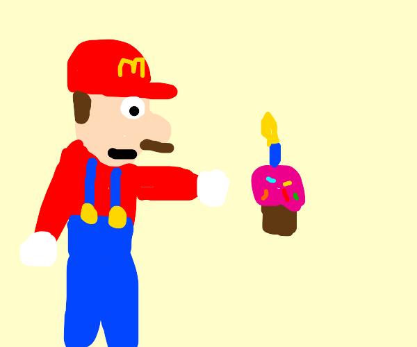 Mario firing Cupcake