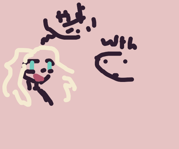 Alien thing with big hair speaking japanese