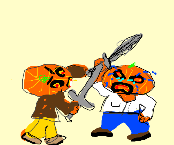 AngryJackOLanternSwordFightsSadJackOLantern