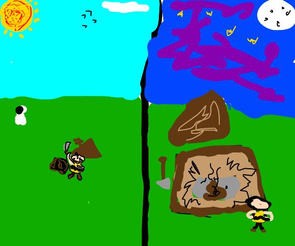 Charlie Brown found a big pile of poo