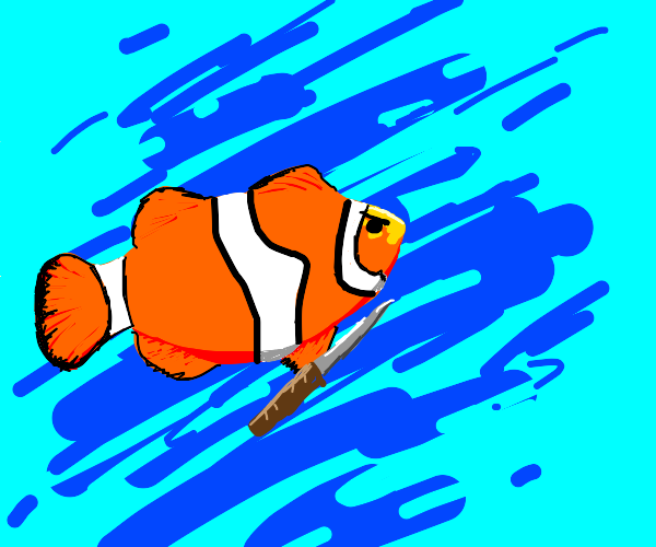 angry clownfish holding a knife