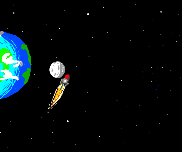 Red tipped rocket orbits the moon