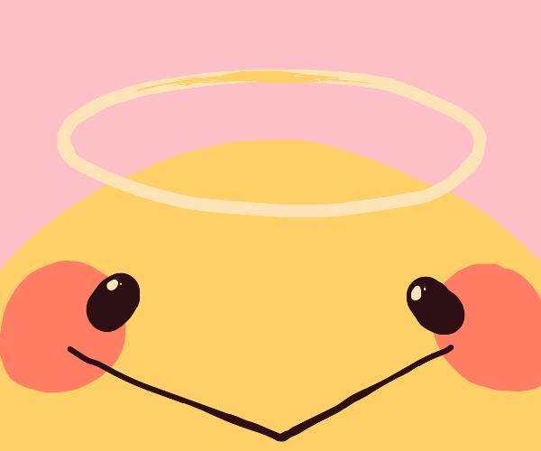 a blushing cute emoji with a halo