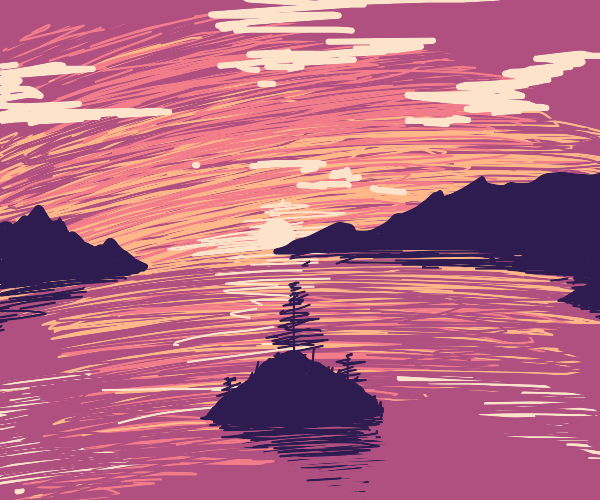 sunset on a small island