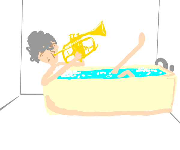 Grandma playing the trumpet from her bathtub