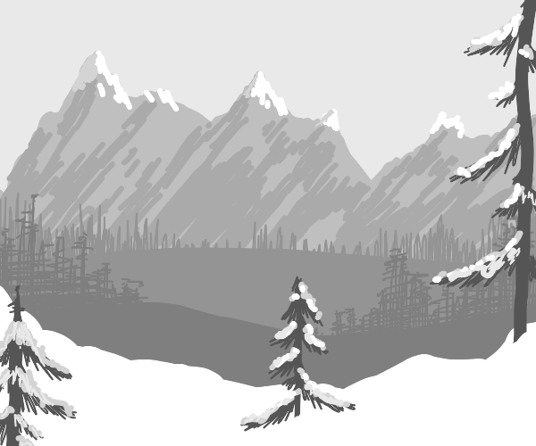 Snow forest with snowy mountain range