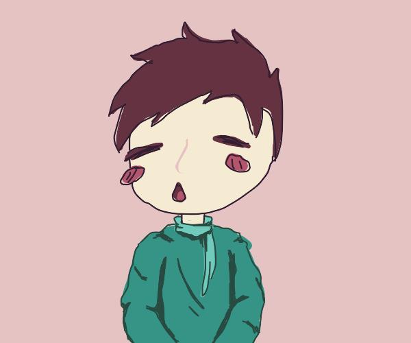 portrait of a cute boy in green sweater/scarf