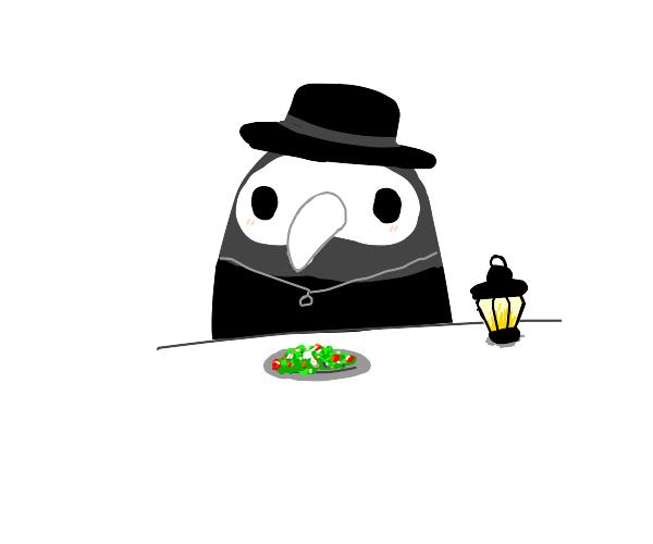 Plague doctor enjoying a nice salad