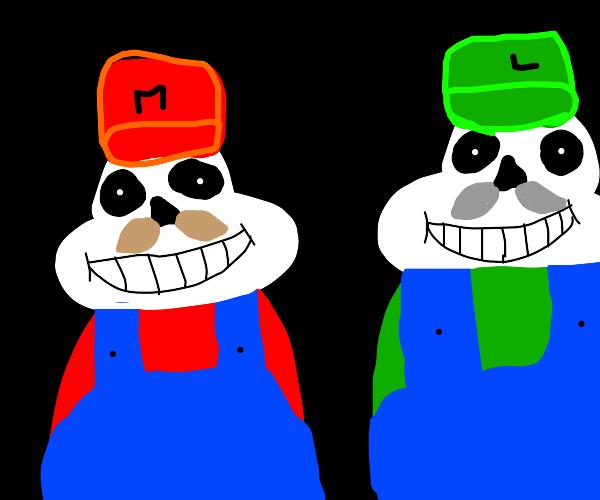 Mario and Luigi as Sans