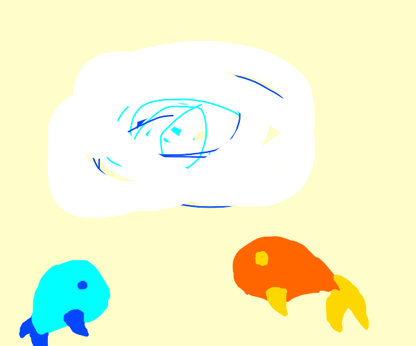 Fishes stare at the unnatural lights far away