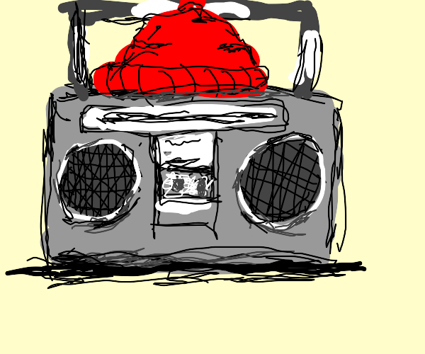 boombox with a beanie
