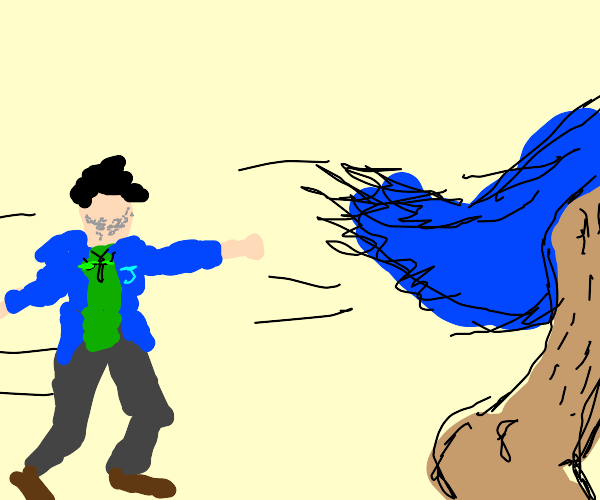 a guy chasing a blue chicken bigfoot