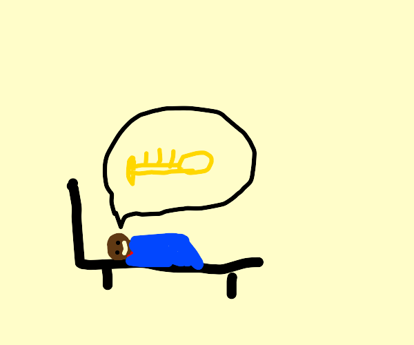 man dreams about a trumpet