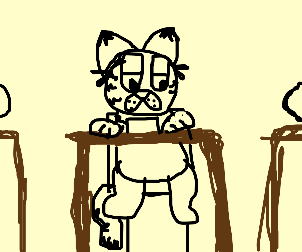 Garfield taking a math test