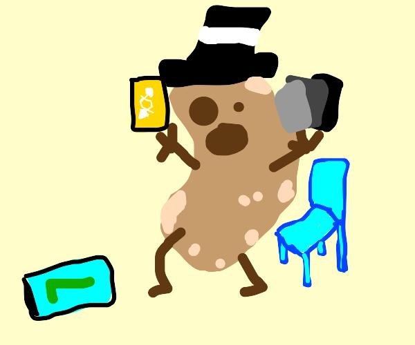 potato man playing uno