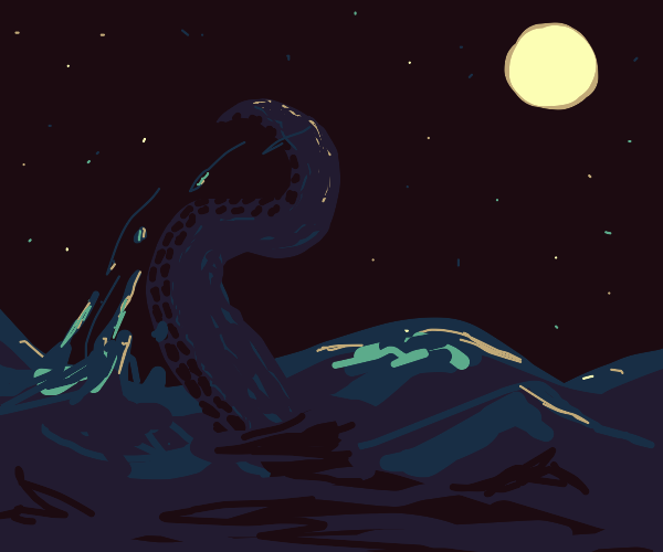 the kraken reaches out from the waves