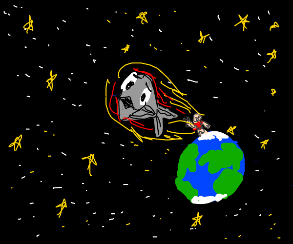 ginormous kid throws fish into space