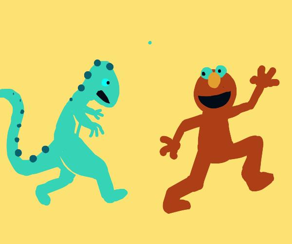 Elmo flees lizardman due to Elmo's misdeeds