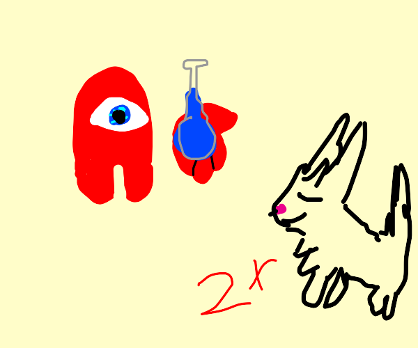 Red oneeyed Alien gives magic potion to cats