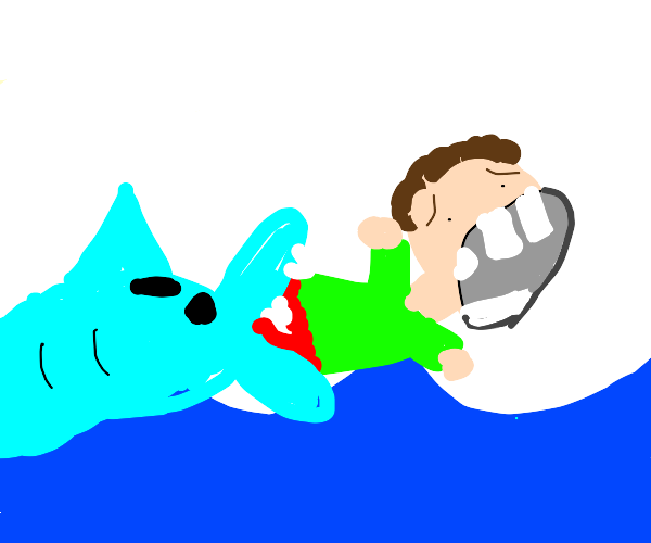man with big teeth being eaten by a dolphin