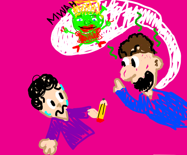 creepy man ask artist to draw hot shrek