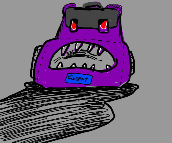 Scary purple backpack with face