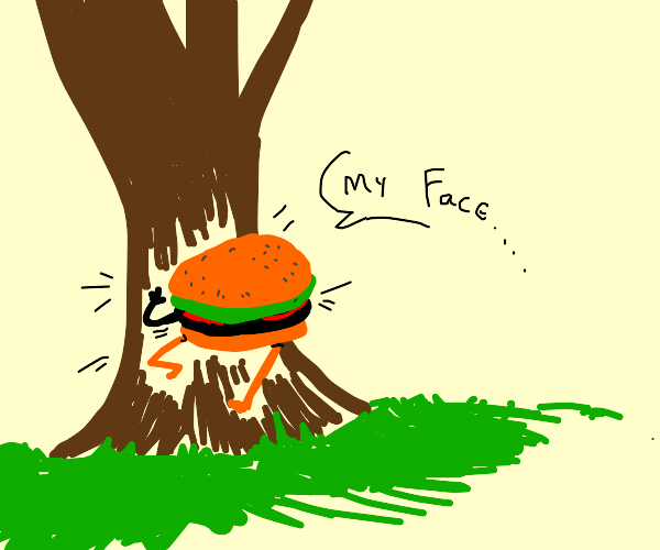 hamburger with face stuck in a tree