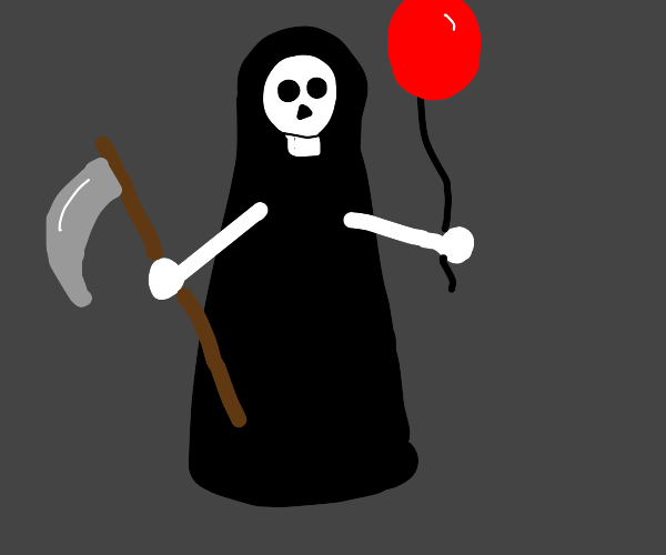 The grim reaper holding a red balloon