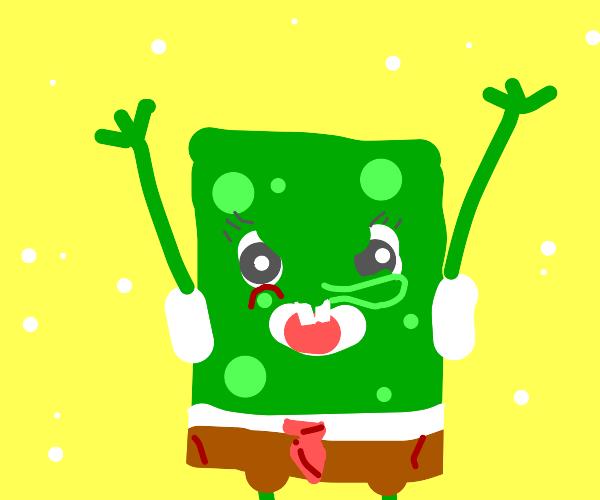 Green angry spongebob