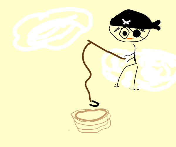 pirate sitting on a cloud fishes a pancake