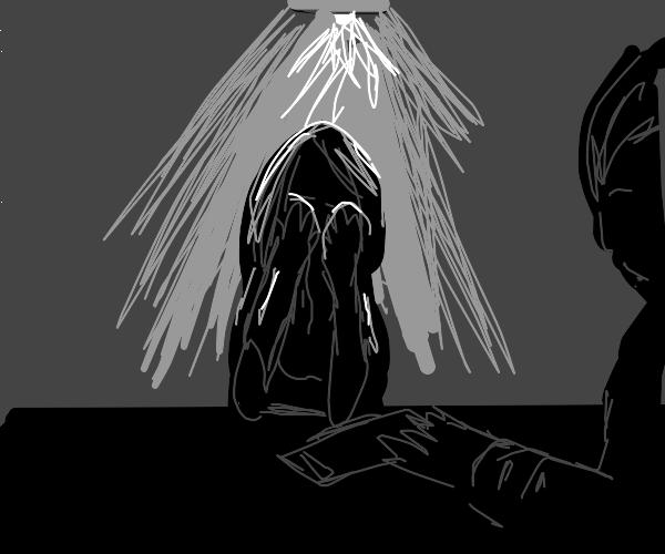 Crying below interrogation lightbulb