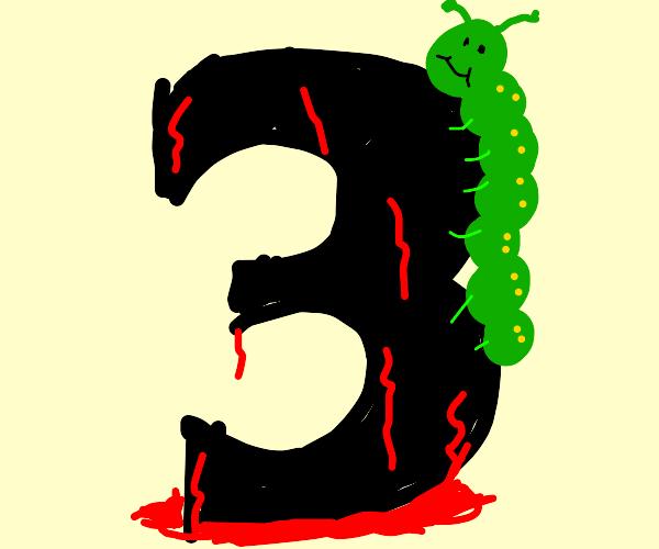 caterpillar climbing a bleeding three