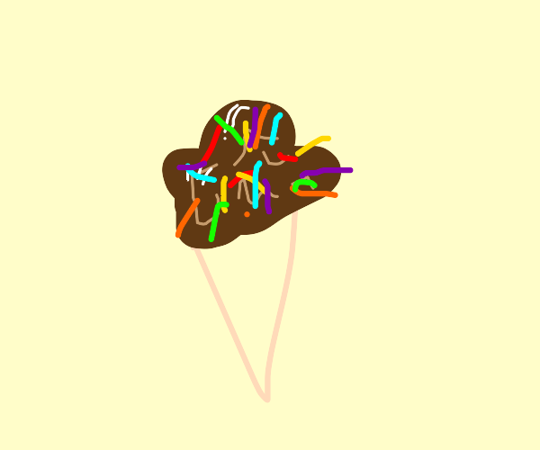 chocolate ice cream with rianbow sprinkles