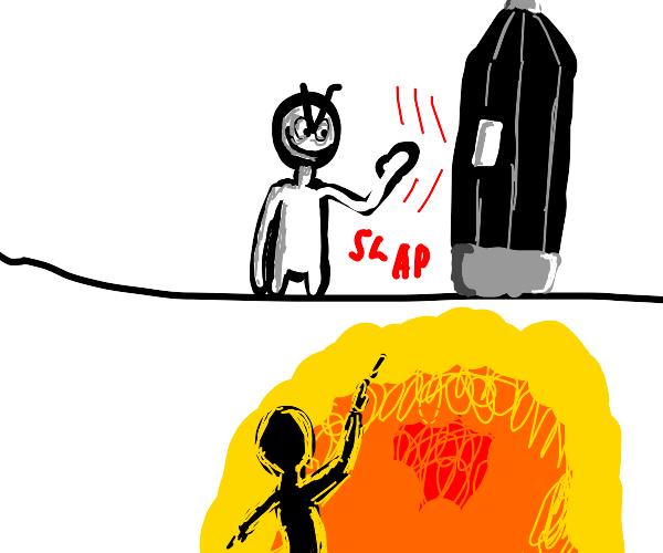 Person beating up a big rocket