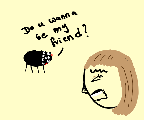Spider is trying to befriend arachnophob girl