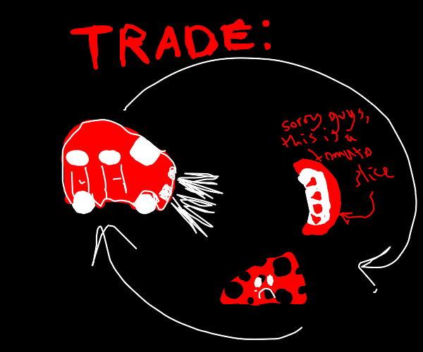 bartering car for tomato and sad cheese