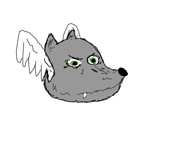 Wolf head with wings