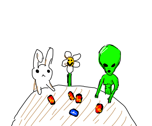 a bunny, flower and Alien playing Uno