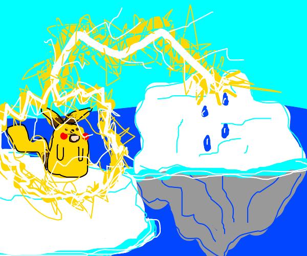 Surprised pikachu's thunderbolt melts ice