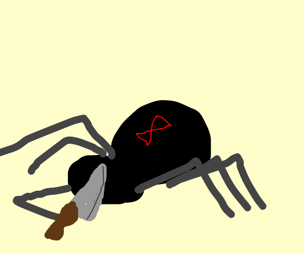Spider with a knife terrorizes man