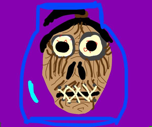 Dark head in a jar