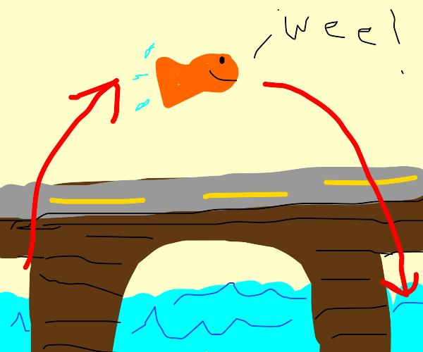 Goldfish jumping over a Bridge