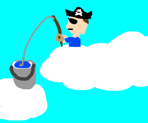 pirate fishing into a bucket on a cloud